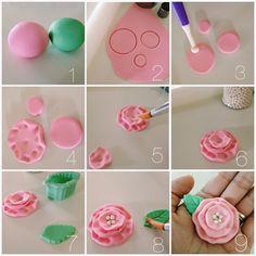 DIY fondant flowers #diy #cupcakes #fondant