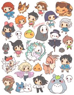 Cartoon Drawings Studio Ghibli themed sticker set ~ ☆ 1 - each☆ includes 26 pre-cut stickers printed on *NEW* LD glossy sticker paper - Studio Ghibli themed sticker set ~ ☆ 1 - each☆ includes 26 pre-cut stickers printed on *NEW* LD glossy sticker paper Cute Kawaii Drawings, Kawaii Doodles, Cute Doodles, Kawaii Art, Kawaii Disney, Chibi Disney, Disney Doodles, Kawaii Chibi, Cute Disney