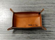 18cm x 12cm Personalized laser engraved leather tray / Valet tray / Catch-all leather tray / Custom engraved