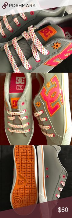 DC • chelsea kicks • NWOB Size women's 7; brand new without box. Light grey/gray DC skate sneakers. Hot pink and bright orange detail. White laces with grey, orange, and hot pink detail as well. Bought these and never wore them cause I liked them too much and didn't want them to lose their mint-ness 🤗 DC Shoes Sneakers