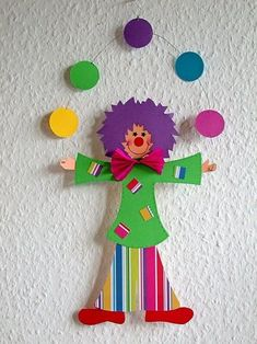 Free Craft Templates or Patterns for a Paper Clown Circus Theme Crafts, Clown Crafts, Carnival Crafts, Carnival Themes, Paper Crafts For Kids, Diy And Crafts, Arts And Crafts, Party Crafts, Diy Paper