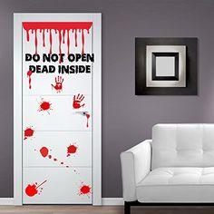 """(Tür, Breite: 80 cm) Vinyl-Aufkleber Don't Open-Dead Inside-Design/Blood Zoombie Hände Art Decor Wandtattoo/Wandaufkleber, Motiv """"The Walking Dead"""", inklusive zufällig Geschenk!"""
