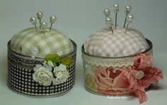 Pin cushions made from cans! Tin Can Crafts, Diy And Crafts, Arts And Crafts, Sewing Crafts, Sewing Projects, Vintage Sewing Machines, Sewing Accessories, Hobbies And Crafts, Pin Cushions