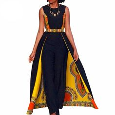 African women elegant Bazin Romper Jumpsuit Sleeveless long dashiki pants