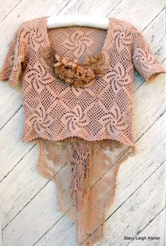 Tea Stained Bustle Blouse Hand Crocheted with by stacyleighatelier