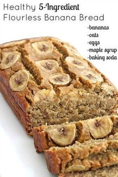Healthy 5-Ingredient Flourless Banana Bread. Oats, eggs, maple syrup, baking soda. The Baker Mama blog