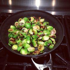 Brussels nom, nom, nom! So easy to make - over med heat add olive oil, minced garlic, salt & pepper