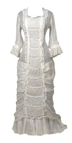 Summer Frock in so-called princess line of white muslin with machined Valenciennes Lace...circa 1879