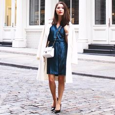 Petrol blue dress, fall fashion & style, blue and white, Zara & AYR