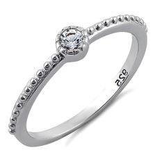 .925 Sterling Silver Ring size 4 CZ Kids Midi Solitaire Ladies Fashion New x56 #Unbranded #Band