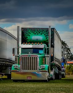 My husband's Semi truck. Jeremy Woodward Trucking <3 - Green Peterbilt
