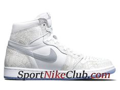 finest selection a9acf 6064d Homme Air Jordan 1 Laser 30th Anniversary Chaussures Nike Jordan Pas Cher  Blanc Gris 705289-