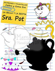 Descarga gratis nuestras plantillas para goma eva y fieltro de tus personajes favoritos: Bella, Bestia, Chip, La Señora Pot...
