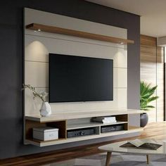 George Oliver Lemington Entertainment Center for TVs with up to 65 # living space designs - Living room tv wall - Entertainment Tv Cabinet Design, Tv Wall Design, Design Case, Hall Design, Set Design, Tv Wanddekor, Tv Wall Cabinets, Wall Cabinets Living Room, Tv Wall Shelves