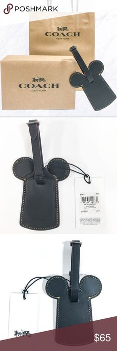 Disney x Coach Mickey Mouse Leather Luggage Tag Add some magical flair to your bag or suitcase with this red Mickey Ear luggage tag from Coach's Limited Edition Disney Collection! It's the perfect accessory for any Disney lover. You can use it for your upcoming trip or as a bag charm. This gorgeous accessory is brand new with tags and never used. There is no address card insert included with this luggage tag as it was not included when I bought it (picture 4). Perfect for gift giving or for…