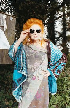 Vivenne Westwood - the original punk!grand dame of British fashion, Spectacularly unconventional and always pushing boundries. Eccentric genius!