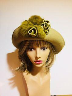 Women s Designer Hat Cloche Church Hat Green Wool Hat Rabbit Fur Pom Poms b2f93524b949
