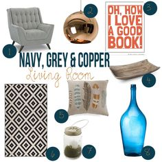 Navy Grey and Copper Living Room Ideas Copper Living Room, Navy Living Rooms, Mid Century Modern Living Room, Living Room Modern, Living Room Decor, Boho Bathroom, Ikea Bathroom, Bathroom Ideas, Country Style Living Room