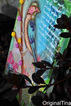 Birdie Canvas, Gelatos, Faber Castell, Mixed Media, Resin Flowers