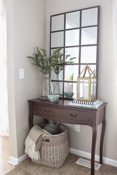 Diy pottery barn eagan mirror entryway decor home. Foyer Decorating, Interior Decorating, Interior Design, Decorating Hacks, Pottery Barn Decorating, Decoration Entree, Home And Deco, Diy Home Improvement, Diy Home Decor