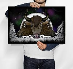 SALE  Evil Eyed Space Bulls Illustration 11x17 by PoeDesignscom, $15.00