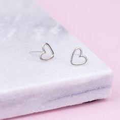 HARRIET - HANDMADE STERLING SILVER OPEN HEART STUD EARRINGS