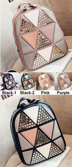 Unique Girl's PU Splicing Leisure Rivet School Backpack Triangles Sequins Backpack for big sale! #backpack #Bag #rivet #sequin #school
