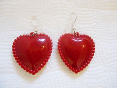 Vintage Plastic Red Hearts Earrings by GrannysInspirations on Etsy
