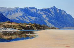 Painting of Hermanus Lagoon Seaside Village, South African Artists, Seascape Paintings, Heaven On Earth, Past, Shops, Mountains, Beach, Travel