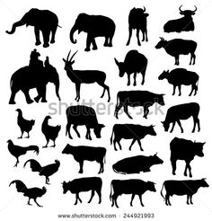 Black silhouettes of elephants, cows, bulls, chickens, deer on white background. vector - stock vector