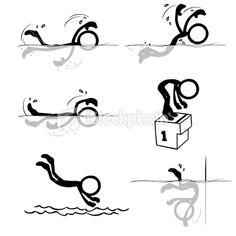 Stickfigure Olympic Swimming Royalty Free Stock Vector Art Illustration