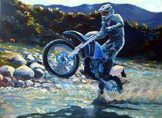 Картина маслом в стиле мотоцикл арт