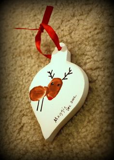 Having Fun at Home: Thumbprint Reindeer Ornament