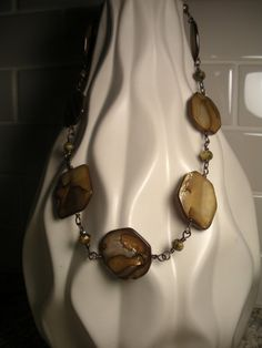 Mother of Pearl and Picasso Czech Glass Antique Copper Necklace by TwinFlameDesigns, $29.74. 22 inches long.