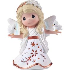 """This Precious Moments In His Perfect Peace and Love LED Musical Angel Figurine glows from within through decorative cutouts. It plays the classic Christmas tune of """"The First Noel"""" and the music can be turned off for use as a night light. Perfect Peace, Peace And Love, Christmas Tunes, Christmas Gifts, Christmas Stuff, Unique Christmas Decorations, Holiday Decor, Angel Decor, Angel Art"""