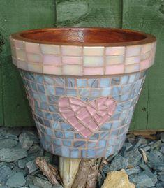 Hand crafted glass and ceramic mosaics, muni's mosaics, mosaic art, peterborough Mosaic Planters, Mosaic Flower Pots, Diy Planters, Planter Pots, Flower Pot Crafts, Clay Pot Crafts, Mosaic Crafts, Mosaic Projects, Recycled Decor