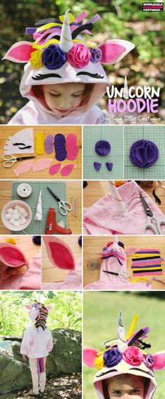 Transforming into a magical creature is easy thanks to the no-sew Unicorn Hoodie tutorial! Make your own hoodie now. Unicorn Halloween Costume, Halloween Sewing, Halloween Scrapbook, Diy Girls Costumes, Mom Costumes, Costume Ideas, Wholesale Halloween Costumes, Easy Halloween Costumes, Halloween Stuff
