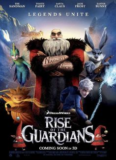 Rise of the Guardians is een film die 28 november is uitgekomen en mij ontzettend aanspreekt. Ik ben sowieso wel een fan van animatie films. Rede waarom het aanspreekt is de herkenbare figuren en de verhaallijn. De poster geeft mij een duidelijk beeld en wekt interesse.