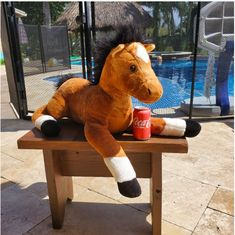 """Aurora brown large pony horse plush 27"""" Long #aurora Pony Horse, Plush Animals, Tigger, Aurora, Dinosaur Stuffed Animal, Horses, Toys, Disney Characters, Brown"""