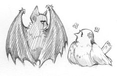 bat and bird by bu-nong.deviantart.com on @DeviantArt
