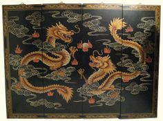 Asian Dragon Room Dividers | 48 inch wide hand painted Chinese Happy Dragon Oriental wall panels ...