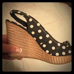 Open Toe Wedges - Very Cute - Brand New - Size 7 Brand New - size 7 - Open Toe Wedges - Black and White Polka Dot.    Make an offer if interested !!!!!! American Eagle Outfitters Shoes Wedges