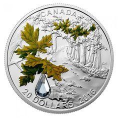 2016 Canada 1 oz $20 silver coin - Jewel of the Rain: Bigleaf Maple (coloring and Swarovski crystal insert)
