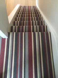 Carpet Runners And Stair Treads Referral: 3667019308 Striped Carpet Stairs, Striped Carpets, Stair Carpet, Contemporary Carpet, Modern Carpet, Carpet Installation, Entry Hallway, Cheap Carpet Runners, Stair Treads