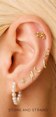 Gold Ear Jackets + Gray Sparkly Spikes - gold ear jacket/ ear jacket spike/ ear jacket gold/ ear jacket earring/ ear cuff/ gifts for her - Fine Jewelry Ideas Ear Cuff Piercing, Pretty Ear Piercings, Septum Piercings, Ear Jewelry, Cute Jewelry, Body Jewelry, Jewelry Ideas, Jewelery, Cute Earrings