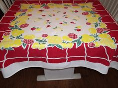 Hey, I found this really awesome Etsy listing at https://www.etsy.com/listing/183932061/vintage-tablecloth-red-and-yellow-fruits