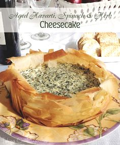 Feed Your Creativity — Savory Spinach and Aged Havarti Cheesecake in a Phyllo Crust