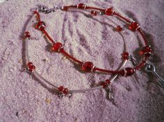 Silver and Red 2 stranded Key charm Anklet