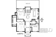 Rez-de-chaussée - Plan de chalet 4 chambres, superbe terrasses arrière, 3 salles de bain, 2 foyers, garde-manger, buanderie - Gleason