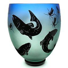Fly fishing Vase | Gary Ganetti Glass
